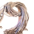 Necklace.  Choker style Necklace, Faux Leather, Silver grey or gold tone.