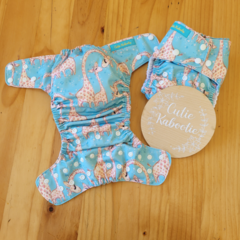 OSFM Reusable Cloth Nappy - Parent and Baby Giraffe in Blue