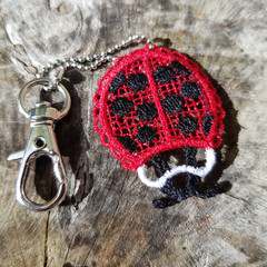 Free Standing Lace Ladybug Keychain