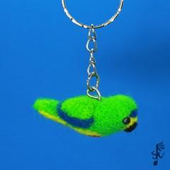 Orange-Bellied Parrot Keyring - Handmade Wool Felt Bird