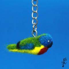 Scarlet-Chested Parrot Keyring - Handmade Wool Felt Bird