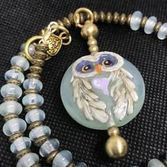 Handmade Owl Bead Lampwork Wearable Art Raw Brass