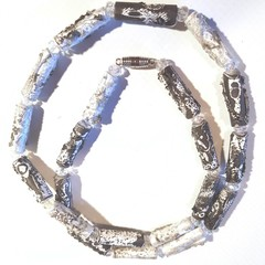 Necklace. Crystal & Tyvek beaded necklace in white, grey and silver, extra long