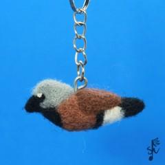 Black-Throated Finch Keyring - Handmade Wool Felt Bird