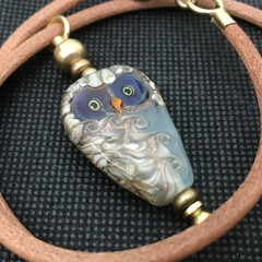 Handmade Owl Bead Lampwork Leather Wearable Art Raw Brass