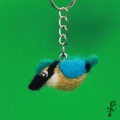 Sacred Kingfisher Keyring - Handmade Needle Felted Bird