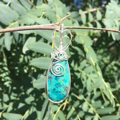 Chrysocolla in Silver Wire Wrapped Pendant P18