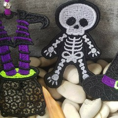 Lace Halloween Decorations - Witch, Cauldron, Skeleton - Individual or set of 3