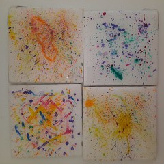 splatter art set of 4 hand painted coasters