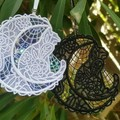 Lace Cat and Moon with Mylar - two colour choices
