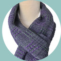 Lightweight Wool Scarf, Handwoven Hand Dyed Merino Wool, Aqua / Purple