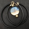 Handmade Glass Beach Ocean Bead Lampwork Wearable Art Raw Brass