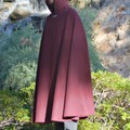 Wool Blend Cloak Medium Length Burgundy