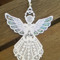Free Standing Lace Angel with Pearl Mylar