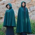 Wool Blend Cloak Medium Length Forest Green