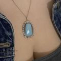OOAK Woven Silver and Amazonite Pendant