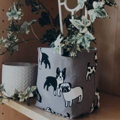 BULLDOGS & PUGS FABRIC BOX, teacher gift/planter