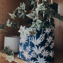 FLANNEL FLOWER FABRIC BOX, teacher gift/planter