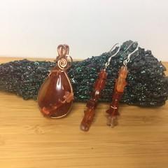 Carnelian Pendant in Copper with Stars
