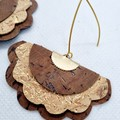 VEGAN, Recycled Cork, Scalloped Fan Earrings, Brown / Gold