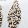 Genuine Leather, Fringed Earrings, Black, White, Yellow Leopard Print