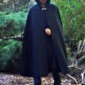 Wool Blend Cloak Medium Length XLg Black