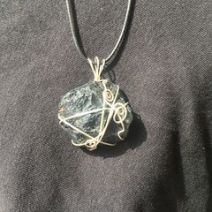 Black Tourmaline Rough Chunk Silver Wire Pendant