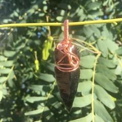 Obsidian Arrow in Copper Pendant