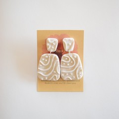 Metallic Silver polymer clay textured earrings