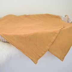 XL Cheesecloth baby swaddle wrap - Mustard