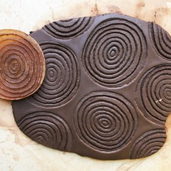 Irregular circles #1.  Rubber stamp-mat for making impressions in clay.