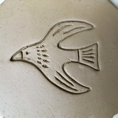 Stamp-Mat Bird#1.  Rubber stamp for making impressions in clay.