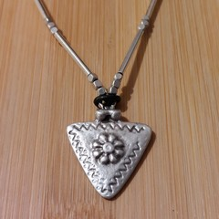 Leather & Silver adjustable necklace