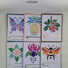 Assorted handmade layered cards. Box set of 6 blank cards, each individually han