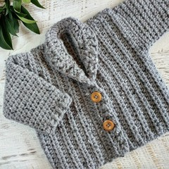 Grey Tweed Hand Crocheted Toddler Grandpa Cardigan 2-3 Years