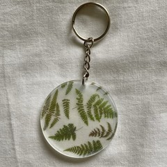 Key Ring, Key Chain or Handbag Pendant - Pressed Flower Design - Fern Leaves