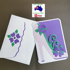 Gorgeous high heel card with matching envelope - features pink spotted high heel