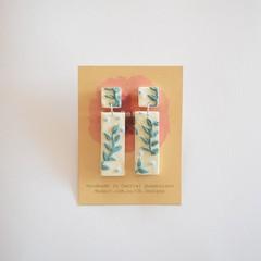 Botanica design Rectangle polymer clay earrings