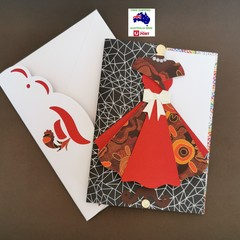 First Nations inspired 3D pretty dress blank card. With matching envelope.