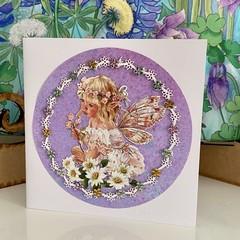 Greeting Card  - Flower Fairy Birthday Card - Fairy Garden with Daisies