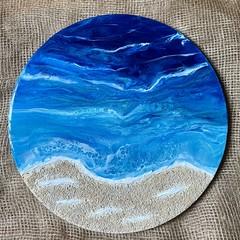 Resin art. Deep ocean . Original artwork 40 cm diameter