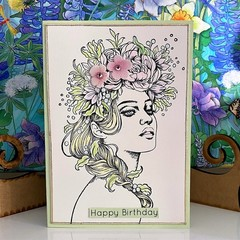 Birthday Card - Bohemian Girl with Flower Crown Pastel Colours