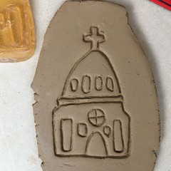 Church #1 stamp-mat. Rubber stamp for making impressions in clay.