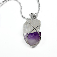 Amethyst and Quartz pendant, Sterling silver wire wrapped, chakra