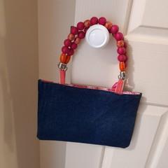Denim Handbag - Beaded handle