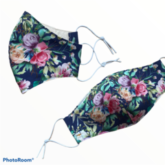 READY TO SHIP ~ Cotton Face Mask ~ Blue Floral~ 3 layers