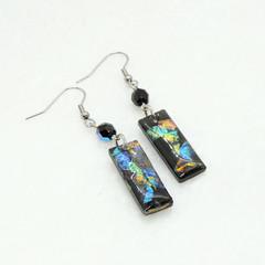 Black opal drops - rectangle