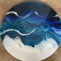 Resin art. - seascape abstract - original artwork 60 cm diameter