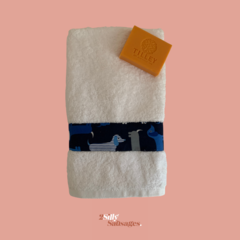 Hand Towel with a double splash of navy dachshunds – White