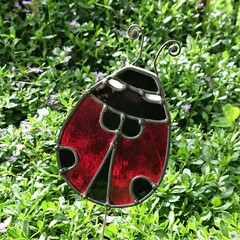 Ladybird Stained Glass Outdoor Garden Stake